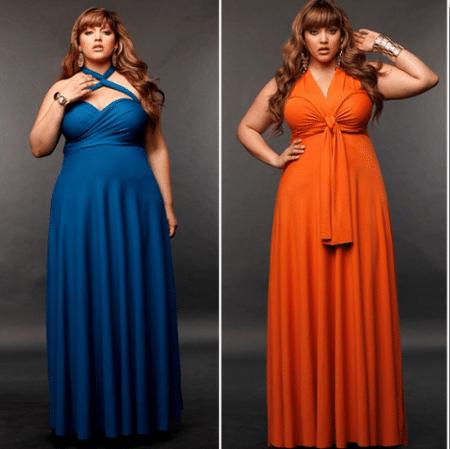 Платье А-силуэта с драпировками из мягкой ткани «спрячет» большой живот, поможет сделать пропорции фигуры более правильными