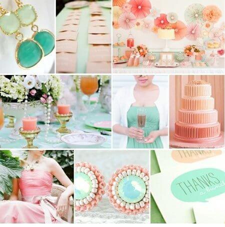 Зелено-персиковая свадьба